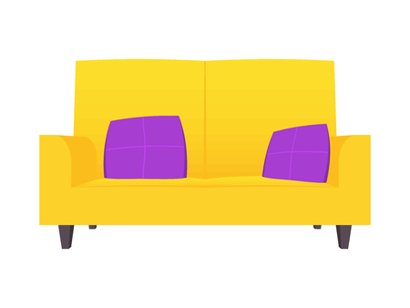 Abstract creative funny cartoon sofa set isolated on transparent background. For web and mobile app, clipart art. Concept idea design element. Vector illustration theme. Illustration