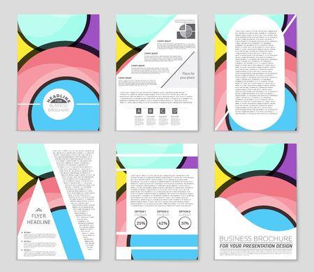 Abstract vector layout background set. For art template design, list, front page, mockup brochure theme style, banner, idea, cover, booklet, print, flyer, book, blank, card, ad, sign, sheet,, a4 Illustration