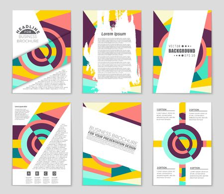 bauhaus: Abstract vector layout background set.Template design, list, front page, mockup brochure theme style, banner, idea, cover, booklet, print, flyer, book, blank, card, ad, sign, sheet, a4. Illustration