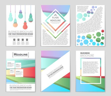 bauhaus: Abstract vector layout background set. Template design, list, front page, mockup brochure theme style, banner, idea, cover, booklet, print, flyer, book, blank, card, ad, sign, sheet, a4.