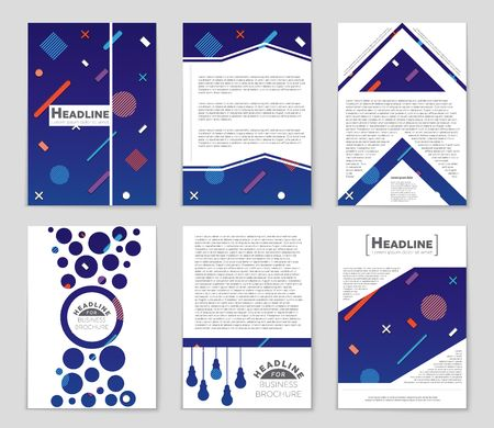 Abstract vector layout background set. Template design, list, front page, mockup brochure theme style, banner, idea, cover, booklet, print, flyer, book, blank, card, ad, sign, sheet,a4. Illustration