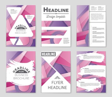 抽象的なベクトルのレイアウト パターンを設定します。アート デザイン テンプレート、リスト、フロント ページ、モックアップ パンフレット テ