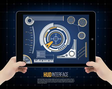 controlling: Abstract future, concept vector futuristic blue virtual graphic touch user interface HUD. For web, site, mobile applications isolated on background, techno, online design, business, gui, ui, kit, hud