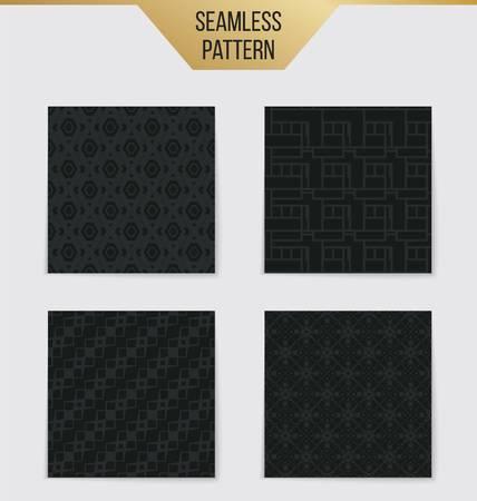 tile: Abstract concept vector monochrome geometric pattern. Dark blue, gold minimal background. Creative illustration template. Seamless stylish texture. For wallpaper, surface, web design, textile, decor Illustration