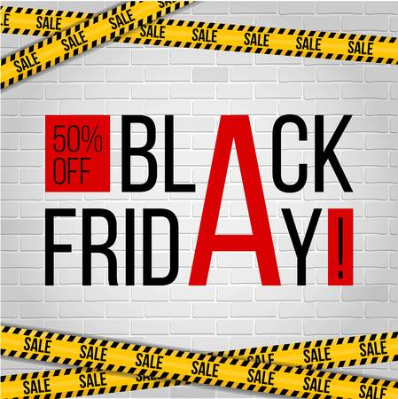 Abstract vector black friday sale layout template design with sale stripes barricade