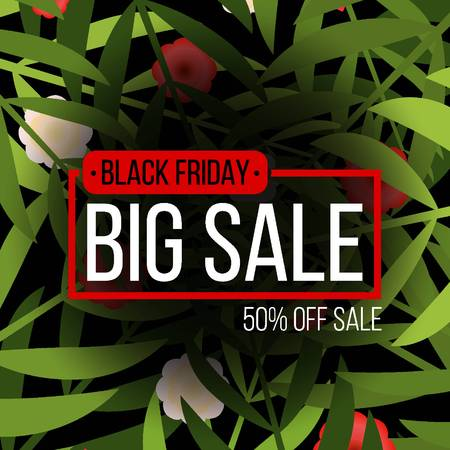 Abstract vector black friday sale layout template design with plant background