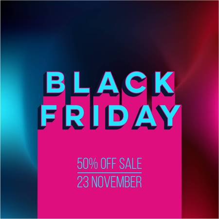 Abstract vector black friday sale layout template design with colorful background Illustration