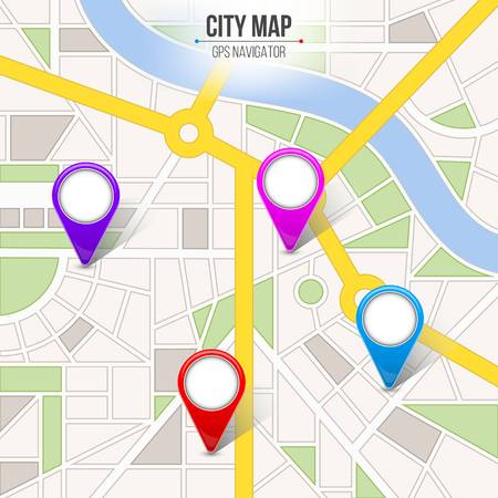 Creative vector illustration of map city. Street road infographic navigation with GPS pin markers and pointers. Art design. City route and infrastructure. Abstract concept graphic element.