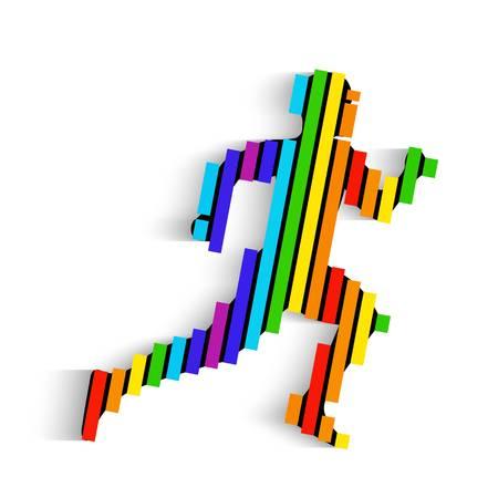 Creative illustration of running man silhouette design icon. Illustration