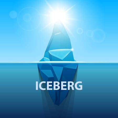 tip of iceberg: Creative vector illustration of under water antarctic ocean iceberg. Art design infographic template. Hidden danger of global warming of Abstract concept graphic for business metaphor polar element.