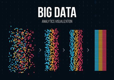 정보의 큰 데이터 분석 크리 에이 티브 벡터 일러스트 레이 션. 과학 기술 배경입니다. 웹 디스플레이 화면 아트 디자인. 시각적 미래를위한 추상 개념