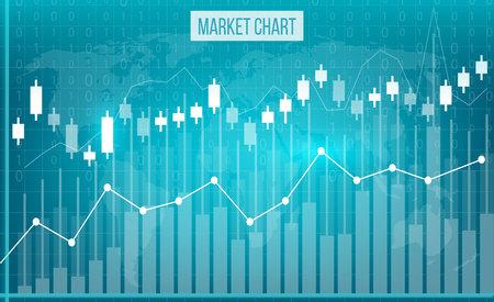 ビジネス データ金融チャートの創造的なベクトル イラスト。財務図表芸術の設計。成長、落下の市場株価分析グラフィック セットです。コンセプ