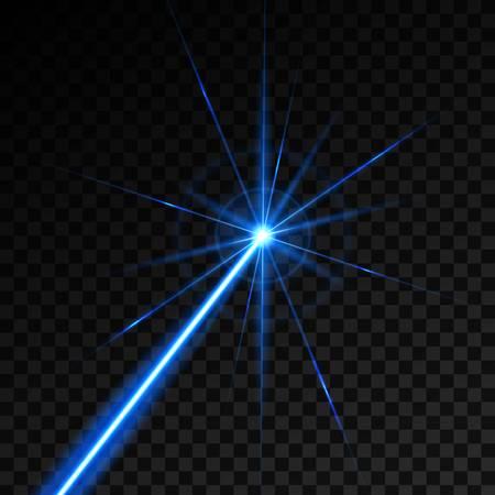 Kreative Vektorillustration des Lasersicherheitsstrahls lokalisiert auf transparentem Hintergrund. Kunstdesign leuchten Lichtstrahl. Grafisches Element des abstrakten Begriffs der Glühenzielblitz-Neonlinie Vektorgrafik