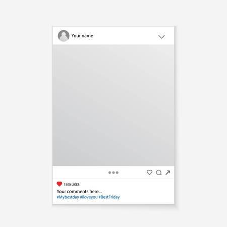 Ilustração criativa do vetor do quadro social do suporte da foto dos media isolado no fundo. Maquete do projeto de arte. Elemento gráfico conceito abstrato para o seu post