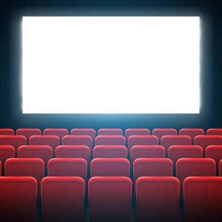 Creative vector illustration of movie cinema screen frame and theater interior. Art design premiere poster background, lights and rows red seats. Abstract concept graphic scene element.