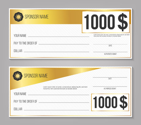 Creative vector illustration of payment event winning check isolated on background. Art design empty blank mockup. Abstract concept graphic lottery element. Vettoriali