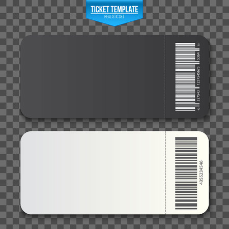 Creative vector illustration of empty ticket template mockup set isolated on transparent background. Art design blank theater, air plane, cinema, train, circus, bus, sport, football invitation coupons