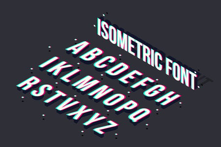 Creative vector illustration of modern trend glitch isometric font isolated on background. Art design 3d alphabet with distortion with drop shadow. Abstract concept graphic typeface element.