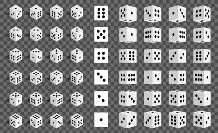 Creative vector illustration of isometric 3d gambling dice combination isolated on transparent background. Art design game cubes. Abstract concept graphic casino 24 turns cube element. Illustration