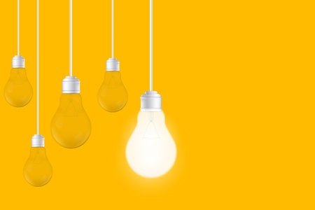 Creative vector of isolated light bulbs on yellow background. Art design illustration new ideas with innovation, creativity. Abstract concept graphic LED lightbulb element. Business leadership. Illustration