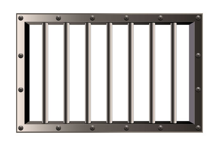 Creative vector illustration of metal realistic detailed prison bars window isolated on transparent background. Art design jail break way out to freedom. Abstract concept graphic element.