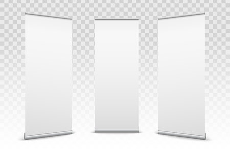 Creative vector illustration of empty roll up banners with paper canvas texture isolated on transparent background. Art design blank template mockup. Concept graphic promotional presentation element. Stock Illustratie