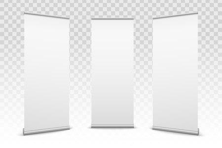 Creatieve vectorillustratie van lege roll-up banners met papier canvas textuur geïsoleerd op transparante achtergrond. Art ontwerp leeg sjabloon mockup. Concept grafische promotionele presentatie-element. Vector Illustratie