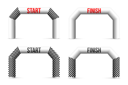 Creative vector illustration of finish line inflatable arch isolated on background. Art design archway suitable for different outdoor sport event. Concept graphic triathlon, marathon, racing, element.