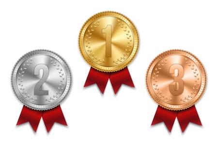 Ilustración de vector creativo de oro realista, medalla de oro y bronce en cinta colorida aislada sobre fondo transparente. Colocación de diseño de arte en concurso de competición deportiva. Elemento gráfico Ilustración de vector
