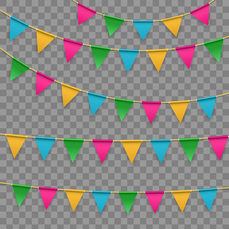 Creative vector illustration of realistic flag, buntings garland with shadow isolated on transparent background. Art design celebrate party invitation template. Abstract concept graphic element.