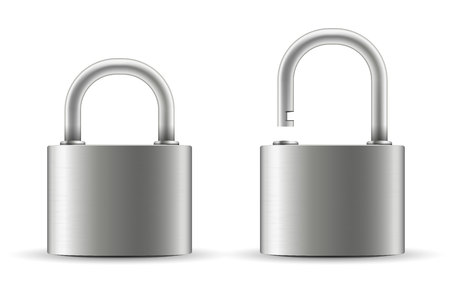 Creative vector illustration of realistic closed padlock for protection privacy isolated on transparent background. Art design metal steel lock. Closed and open. Abstract concept graphic element. Ilustrace