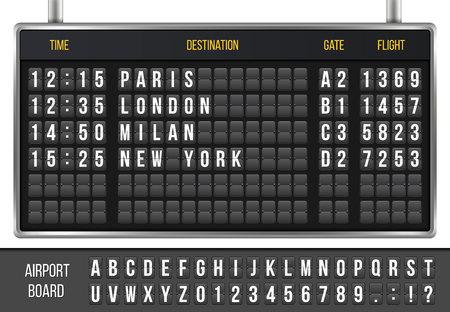 Creatieve vectorillustratie van realistische flip scorebord, aankomst luchthaven bord met alfabet, nummers geïsoleerd op transparante achtergrond. Stockfoto - 93021589