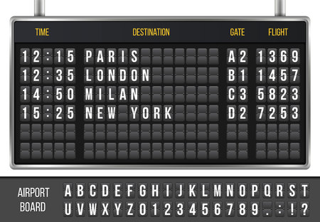 Creative vector illustration of realistic flip scoreboard, arrival airport board with alphabet, numbers isolated on transparent background.