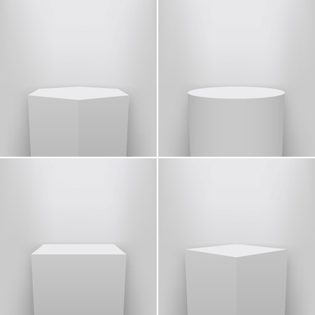 Creative vector illustration of museum pedestal, stage, 3d podium set isolated on transparent background.  イラスト・ベクター素材