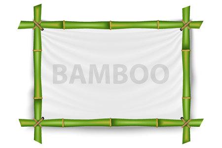Creatieve vectorillustratie van bamboe stengels frame geïsoleerd op de achtergrond. Art ontwerp leeg mockup sjabloon.