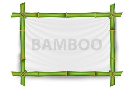Creative vector illustration of bamboo stems frame isolated on background. Art design blank mockup template. Vettoriali