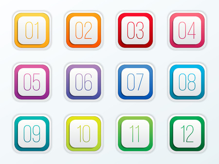 Creative vector illustration of number bullet points set 1 to 12 isolated on transparent background. Art design. Flat color gradient web icons template. Abstract concept graphic element.