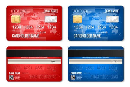 creative vector illustration of bank plastic credit card set