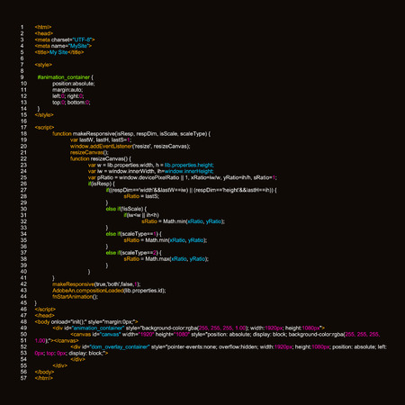 Creative vector illustration of programming HTML code on computer screen isolated on background. Art design website digital page. Program listing view. Abstract concept graphic technology element. Vettoriali