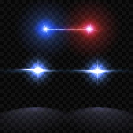 Creatieve vectorillustratie van koplampen van het politiewagensilhouet, knipperen geïsoleerd op transparante achtergrond. Gloeiende koplamp. Rode, blauwe sirene lichten. Kunst ontwerp. Abstract concepten grafisch element.