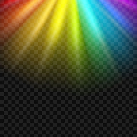 Creative vector illustration of rainbow glare spectrum isolated on transparent background. Art design gay pride colors. Abstract concept graphic element.