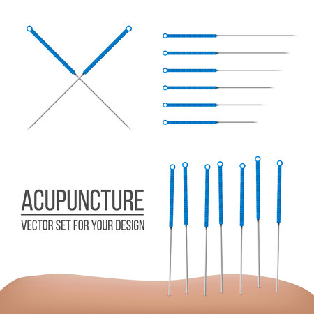 Creative vector illustration of acupuncture therapy isolated on transparent background. Art design spa treatments. Abstract concept graphic element.