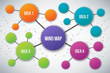 Ilustración de vector creativo de plantilla de mapa mental infografía aislado sobre fondo transparente con lugar para su contenido. Diseño artístico. Elemento gráfico concepto abstracto