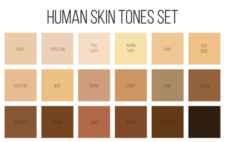 Creative Vector Illustration Of Human Skin Tone Color Palette