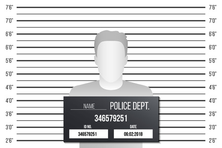 Illustration vectorielle créative de la gamme de policiers, modèle de mugshot avec une table isolée sur fond transparent. Art design silhouette d'anonyme. Élément graphique concept abstrait.