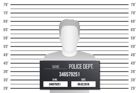 Illustrazione creativa di vettore dell'allineamento della polizia, modello del mugshot con una tavola isolata su fondo trasparente. Silhouette di design d'arte di anonimo. Elemento grafico concetto astratto.