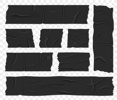 Illustration vectorielle créative de ruban adhésif isolant pour conduit isolé sur fond transparent. Pièce de scotch de colle collante de conception d'art. Élément graphique concept abstrait
