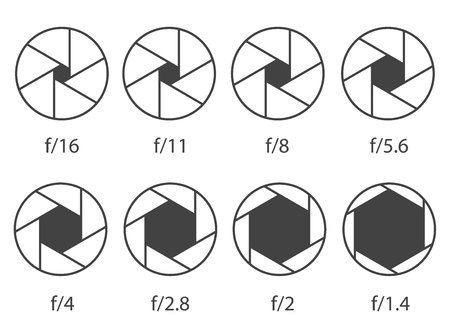 Illustration vectorielle créative de l'ouverture de l'obturateur de la caméra avec un iso différent isolé sur fond transparent. Collection de diagrammes monochromes de conception d'art. Élément graphique concept abstrait