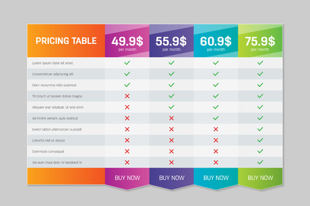 Creative vector illustration of business plans web comparison pricing table isolated on transparent background. Art design modern banner list. Abstract concept graphic websites, applications element Illustration