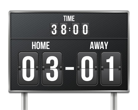 Creative vector illustration of soccer, football mechanical scoreboard isolated on transparent background. Art design retro vintage countdown with time, result display. Concept graphic sport element Vectores